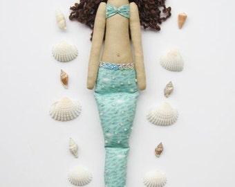 Mermaid doll handmade fabric doll teal softie plush cloth doll art doll brunette mermaid rag doll nursery decor gift for girl and mom