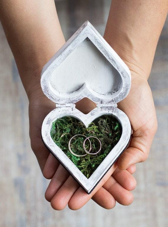 Wedding ring box ring bearer box custom wedding box moss for Custom engagement ring box