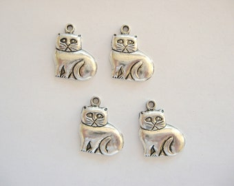 Cat Charms~Grumpy Cat Style-Pewter Cat Charms~Pewter Charms~Cat Charms Pewter~Four Cat Charms~