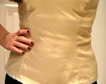 Gold Corset, Bustier Corset Top, Bustier, Gold Top, Sweetheart Top, Corset, Bandeau Top