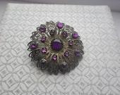 Czech Filigree Purple Rhinestone Brooch