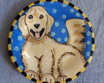 Golden Retriever Ceramic Pottery Hand Made Slab Plate
