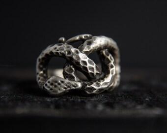 Snake Ring-Sterling Silver Snake Ring-Snake Jewellery-Knot Ring-Snake Knot Ring-Unisex Snake Ring-Statement Rings
