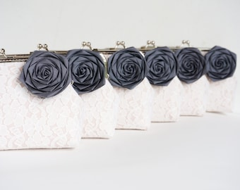 Charcoal Grey Wedding / 6 * Bridesmaids gifts / you can choose your own initial option
