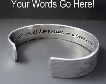 Custom Secret Message Bracelet - Silver  Cuff - Hammered - Hand Stamped - 1/2 inch cuff