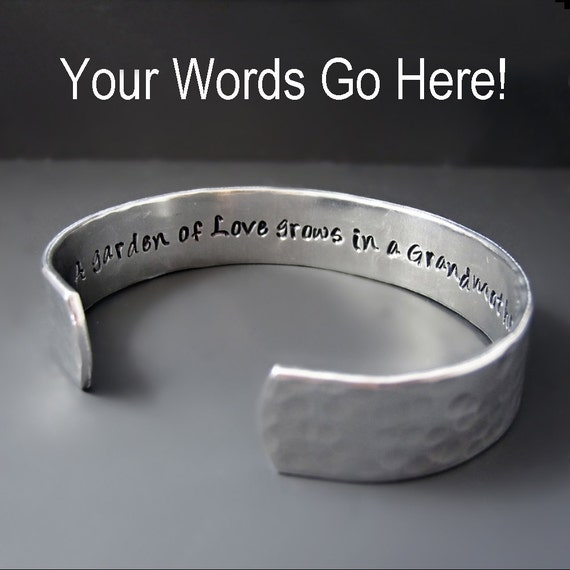 Custom Secret Message Bracelet - Silver  Cuff - Hammered - Hand Stamped - 1/2 inch cuff