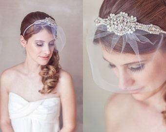 Wedding Veil Headband, Art Deco Crystal Pearl Great Gatsby Headband, Birdcage Veil, blusher veil, Mini Veil Headband, Crystal Headpiece