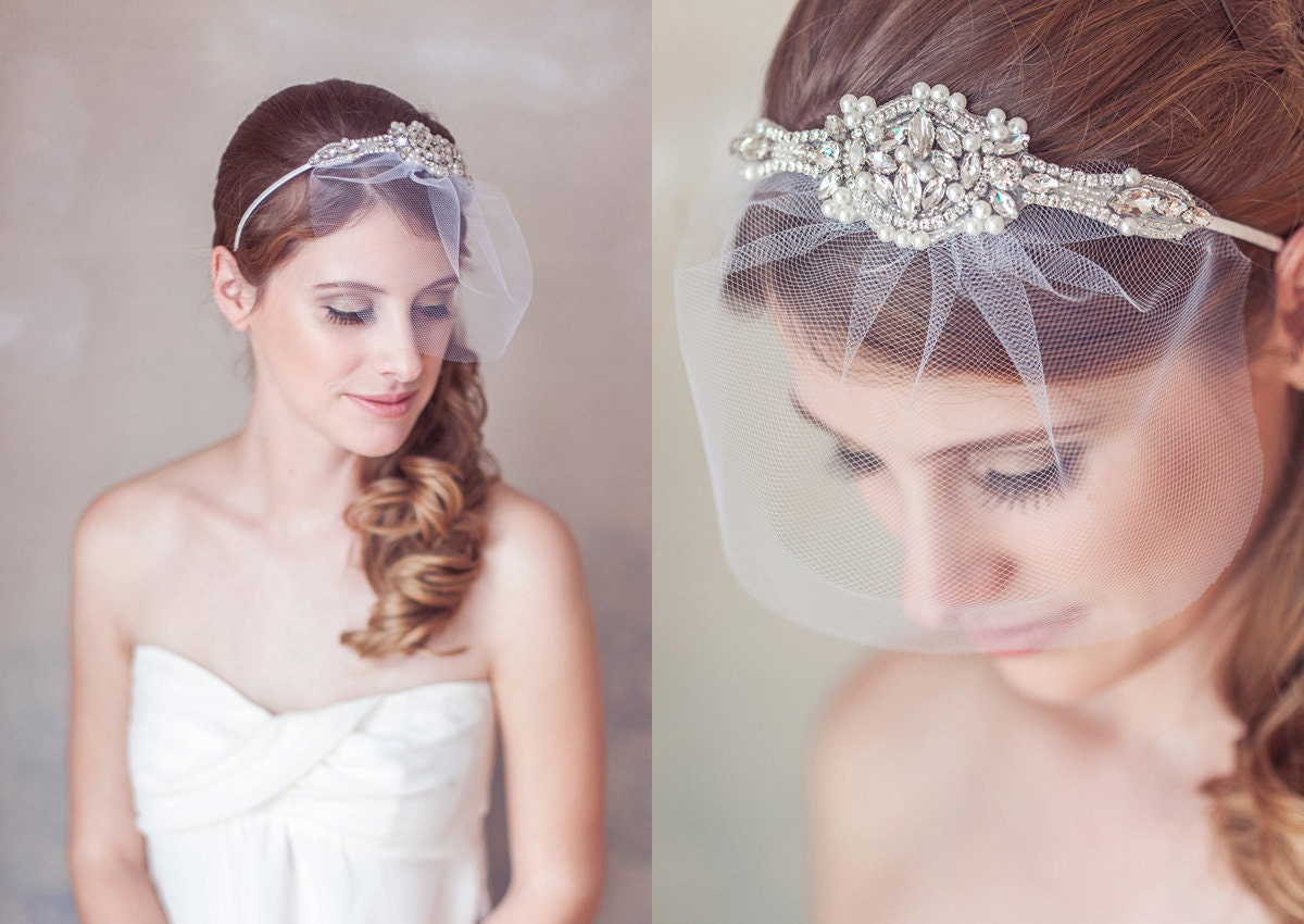 Wedding Veil Headband Art Deco Crystal Pearl Great Gatsby