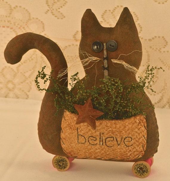 Primitive cat spring decor summer decor home decor shelf for Cat decorations home