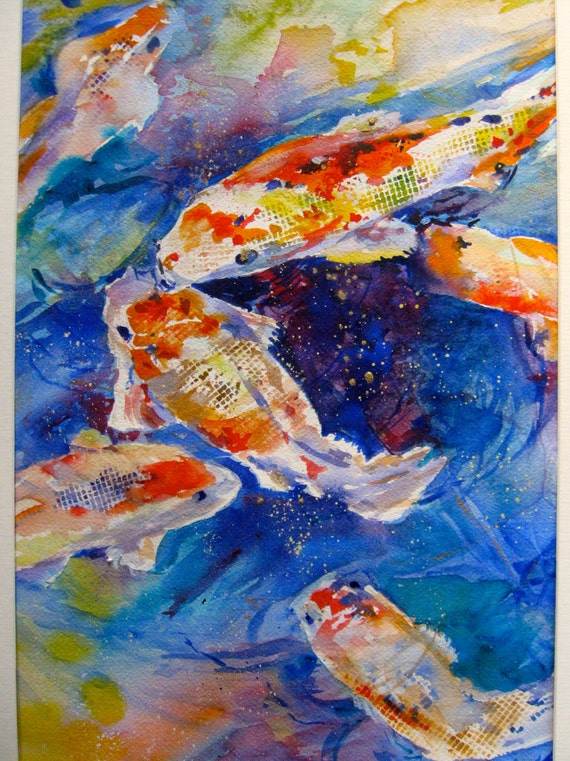 Watercolor painting koi pond original art 16x20 fish painting for Original koi fish