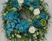 RESERVED Custom Revised for Kathi Summer Wreath Teal Blue Green White Spring Peacock Feather Bow Large Floral Decoration Front Door Wreath