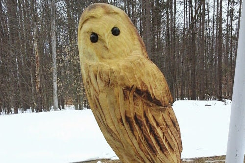 Chainsaw carved sitting barn owl by carvnstitch on etsy