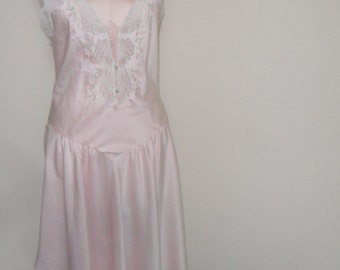 Sara Beth Vintage Nightgown Pink Satin Wedding Bridal