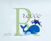 Wall Decal Baby Boy Nursery Name Whale Ocean Nautical Beach Nursery Monogram Decals Vinyl Lettering Kids Children Personalized Decor