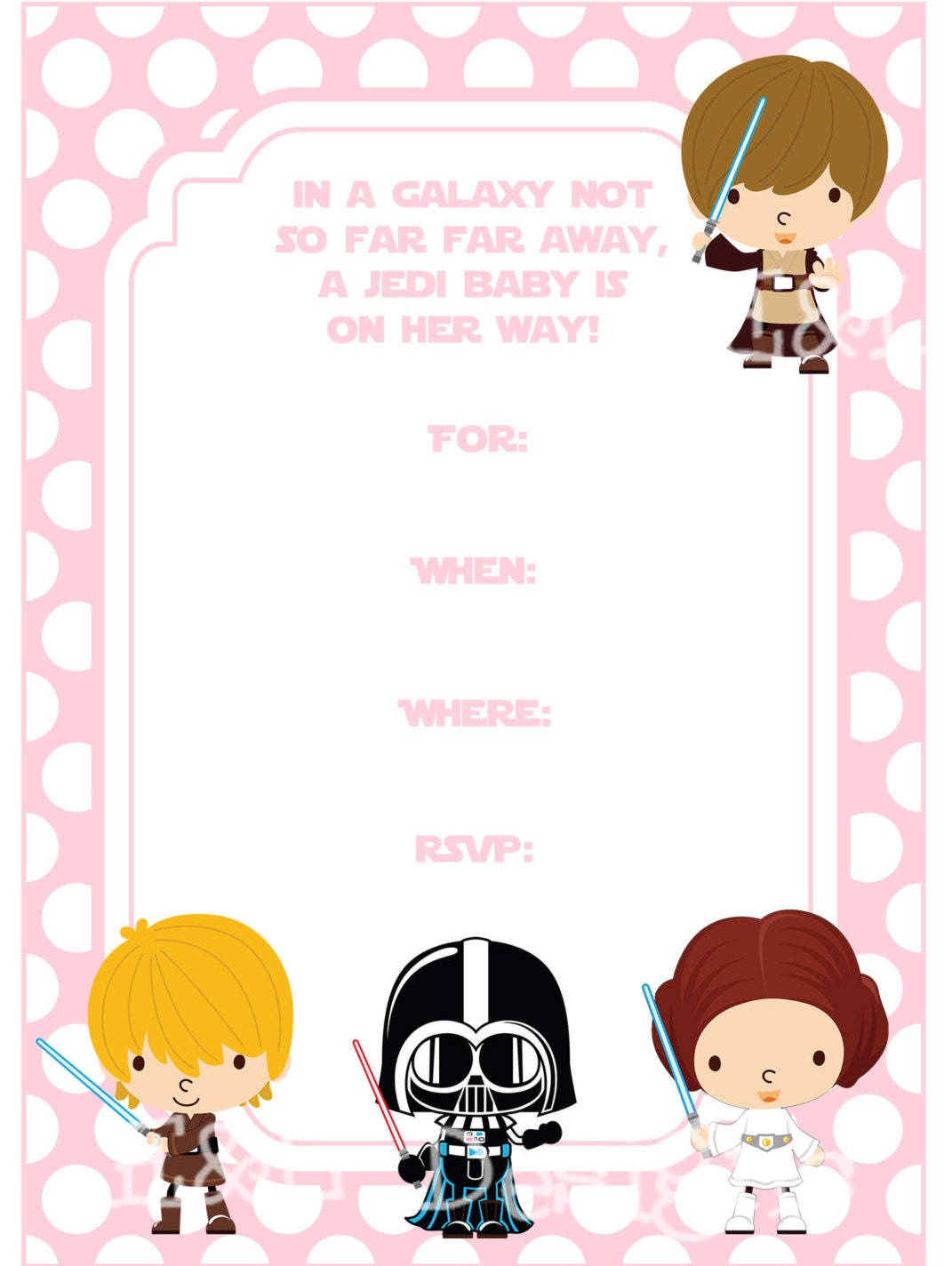 star wars baby shower 5x7 invitation girl baby shower