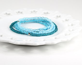 Long Beaded Necklace Ombre Aqua Turquoise Blue Teal Silver Three Way Wrap Bracelet