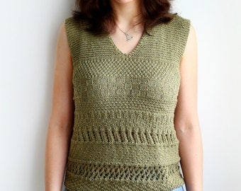 Handknit tank top - Summer sleeveless blouse - Sage green lacy top - Size S/M