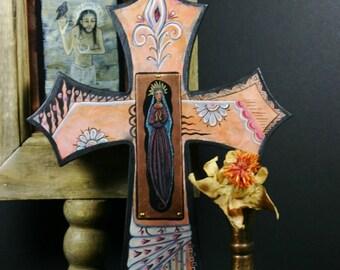 Our Lady of Guadalupe Original Retablo Cross