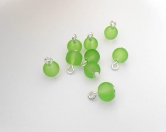 Lime-Green Frosted Glass Dangle Beads