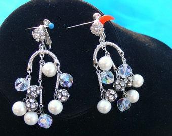 clip dangle pearls and rhinestone crystal earrings
