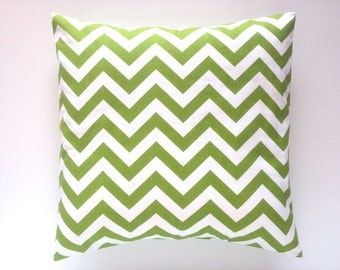 CLEARANCE 50% OFF Chartreuse Green Decorative Pillow.  16x16. Chevron Throw Pillow Cover. Accent Pillow.