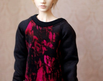 Super Gem Boy Raspberry And Black Sweater For 70cm SD BJD - Last One