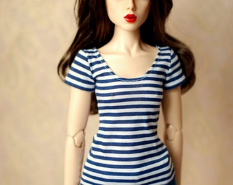 SD White And Navy Striped Top For 1/3 BJD
