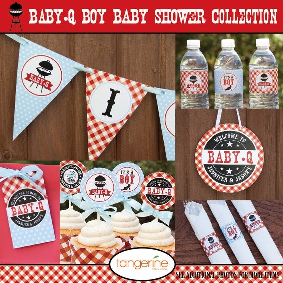 Bbq baby shower decorations package babyq by for Baby shower bbq decoration ideas