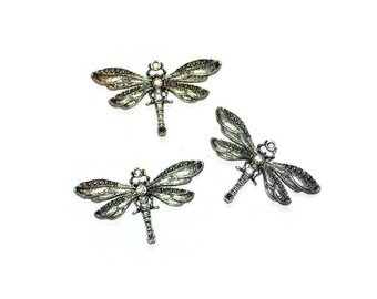Dragonfly Pendant Antiqued Silvertone Rhinestone Embellished Jewelry Supplies Set of Three