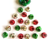 Mini Shiny Retro Holiday Bells-Lot of Eight 20mm-Red Green Silver Gold-Retro Holiday Ornament-Christmas Putz Village-Church Bell-Jingle Bell