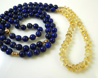 hand-knotted lapis lazuli and faceted citrine rondelle beads necklace