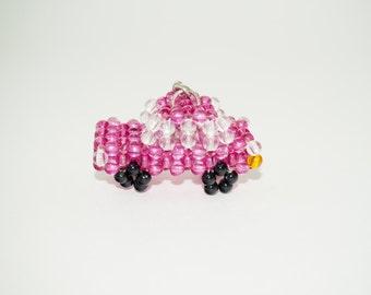 Car Keychain, Beaded Car Keychain, Pink Car, Beadwork Car Keychain, Automobile Keychain, Bead Car Keychain, Cute Car Keychain, Beaded Car