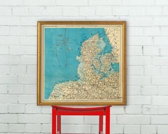 Denmark map - Old map print - Restored map of Denmark
