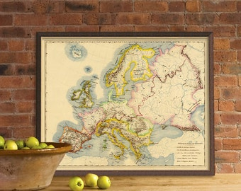 Europe vintage map - Antique map of Europe - Fine print