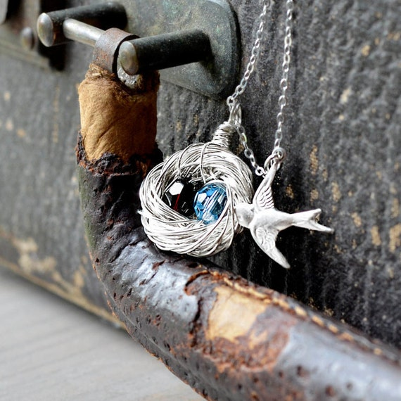 Birds Nest Necklace - Sterling Silver Swirled Wire Nest - Personalized 2 Children | Mother's Day Gift | Grandmother Necklace