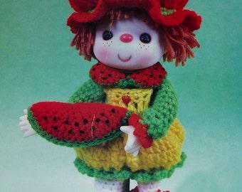 "Instant Download PDF Vintage Eighties 14"" Watermelon Slice Doll Crochet Pattern"