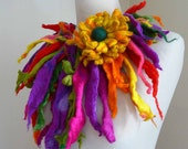 Felted wool necklace, lariat, belt ,scarf, collar, handmade, felt, quirky and unusual spiky necklace, lagenlook, MADE TO ORDER