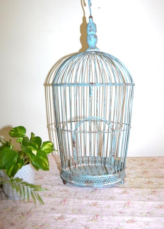 Bird cage blue bird cage metal bird cage vintage bird cage - Cage a oiseaux decorative ...