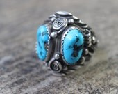 Men's Ring / Sterling and Turquoise Running Bear Jewelry / Vintage Southwest Ring