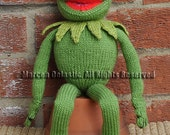 "15"" Tall Kermit the Frog Toy/Doll Sesame Street Muppet Knitting Pattern in Double Knit (DK) Yarn"