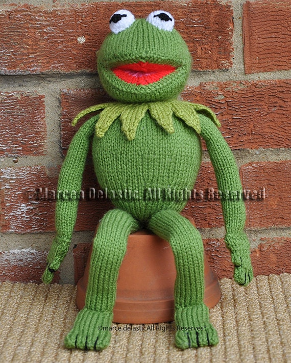 Knitted Frog Pattern : 15 Tall Kermit the Frog Toy/Doll Sesame Street Muppet