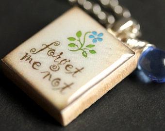 Scrabble Tile Necklace. Forget Me Not Charm Necklace with Blue Teardrop. Scrabble Pendant. Forget Me Not Scrabble Necklace. Handmade Jewelry