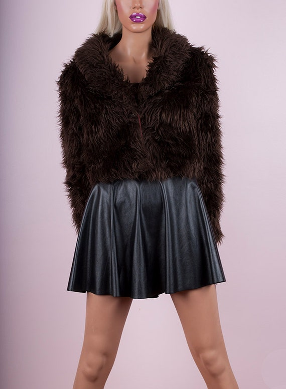 Brown Shaggy Faux Fur Cropped Jacket