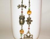 Boho Earrings, Mismatched Earrings, Long Owl Earrings, Eclectic Earrings, Owl Jewelry, Kitsch Earrings, Boho Long Dangle Earrings, Owl Drops