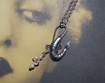 Shrimp Necklace, Pink Prawn Pendant, Shrimp Charm, Sea Creature Necklace, Pink Shrimp Jewelry, Quirky Necklace, Pastel Necklace, Prawn Charm
