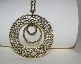 Circle Necklace, Big Circular Pendant, Bubble Necklace, Three Circles Necklace, Bronze Pendant, Round Pendant,  Circle Pendant, Big Pendant