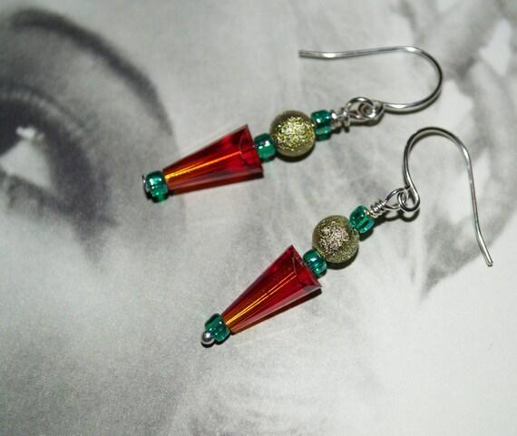 Glass Bead Earrings, Red Glass, Drop Earrings, Spike Earrings, Glass Arrow, Red and Gold, Dangle Earrings, Glass Drop Earrings, Glass Beads
