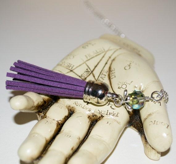 Purple Tassel Necklace, Boho Fringe Jewelry, Long Boho Necklace, Purple Necklace, Fringe Tassel Pendant, Layering Pendant, Festival Necklace