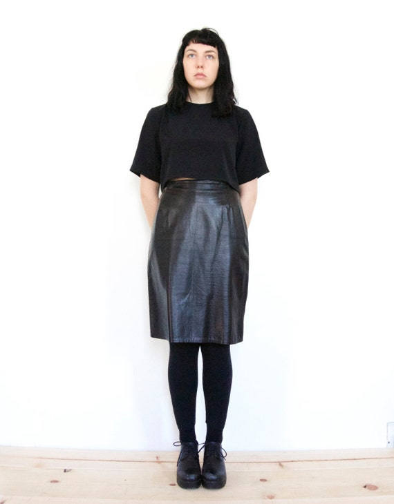 90s high waist supple black leather skirt by