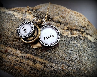Unique Hand Stamped Mother's Necklace - Personalized Charm Necklace - Mixed Metal Jewelry - The Charmed Wife - Mother's Day Gift Ideas